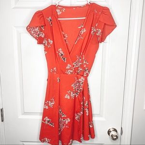 Red floral wrap mini dress size small
